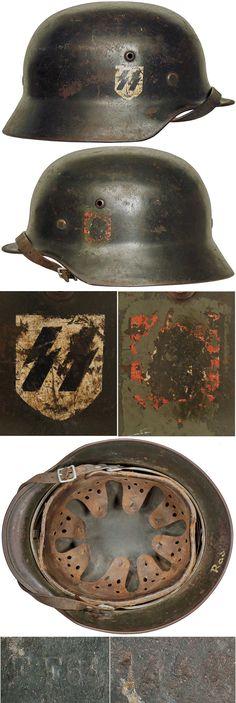 Original M35 DOUBLE DECAL HELMET. (Stahlhelm M40)  Check out my website for more original WW2 items: http://www.vantiques.nl