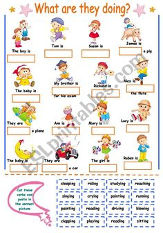 another cut and paste activity. this time about verbs -ing. kids have to cut and paste the verbs in the correct picture.hope you like it! English Primary School, Learning English For Kids, English Lessons For Kids, English Worksheets For Kids, Kids English, Learn English Words, English Activities, English Classroom, Teaching English
