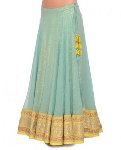 Sky Blue & Chartreuse Lehenga Set- Buy Madsam Tinzin,The Best Of Shahpur Jat Online   Exclusively.in
