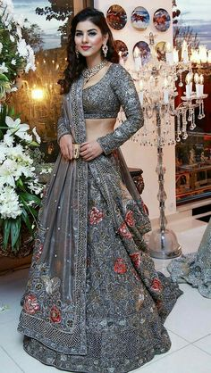 Buy online from largest collection of indian lehenga choli with best quality and lowest cost. Order this grey naylon net partywear designer lehenga with hand work online india. Cod and original product. Indian Dresses For Women, Party Wear Indian Dresses, Party Wear Lehenga, Indian Wedding Outfits, Indian Outfits, Bridal Dresses, Bridesmaid Gowns, Emo Outfits, Indian Weddings