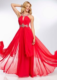 Jewel Beading On Chiffon Gown With Split Front Fly Away Skirt Bridesmaids Dresses(HM0479)