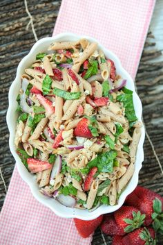 Make it for dinner or bring as a side to a potluck. Strawberry Poppy Seed Pasta Salad with Chicken - Low Calorie, Low Fat Healthy Recipe