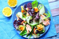 A light and refreshing salmon salad recipe from MyNutriCounter