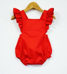 Australian orders of 2 or more items will be sent Priority Shipping at business days estimate. Fabulous Vintage Style Retro Baby Girl Red Romper with Flutter Sleeve and Ruffles Best quality childrens clothing Ive ever seen. Red Romper, Baby Girl Romper, Baby Girl Dresses, Baby Dress, Dress Red, Baby Ruffle Romper, Fashion Kids, Baby Girl Fashion, Babies Fashion