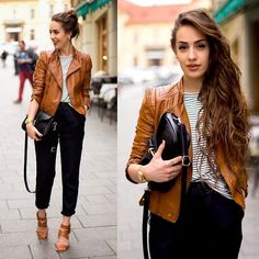 Style Moi Brown Leather Bier Jacket, Oasap Black Crossbody, Front Row Shop Black Linen Trousers, Pull & Bear Brown Heeled Sandals