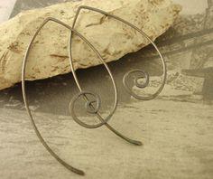 Oxidized Elfish Style Sterling Silver Ear Wires by UnkamenSupplies, $25.00