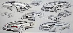Mercedes Benz SLS AMG concept sketches   Car Design Education Tips