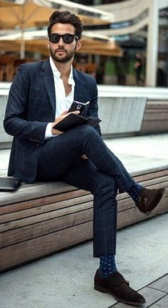 Like the dark blue and windowpane. Socks are killer and so is chocolate suede. nix the monk strap.