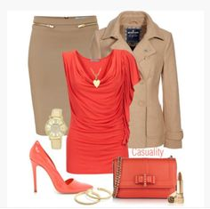 shirt top scoop neck draped top short sleeves skirt pencil skirt jacket coat salmon tope heels high heels stilettos purse clutch soft brown necklace earrings watch clothes outfit