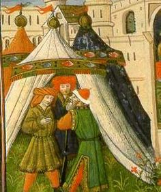 A tent with lines that perhaps indicate the tent was not truly round, but sectional.   Clearly no ropes.     15th century (Die Mahlzeit des König Artus, from Livre de Messire, Lancelot du Lac)