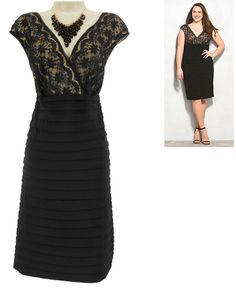 b50ff785 18W 2X SEXY Womens BLACK LACE TOP SHUTTER PLEAT DRESS Evening Cocktail PLUS  SIZE #Dressbarndbsignature