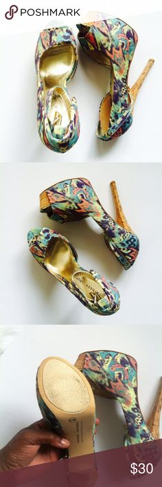 Chinese Laundry Colorful Bliss Open Toe Stilettos Size 8.5 fit true to size. In great condition. Carlie style. Heel size is 6 inches Chinese Laundry Shoes Platforms