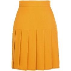 Gucci Pleated silk and wool-blend crepe mini skirt (1,305 CAD) ❤ liked on Polyvore featuring skirts, mini skirts, gucci, yellow, retro skirt, silk skirt, short mini skirts, mustard skirt and short skirts