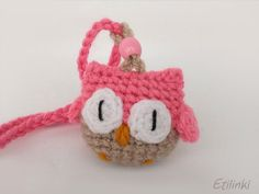 Pink Crochet Owl Necklace and Owl Bookmark in one piece - 2in1 � Cool gift for kids