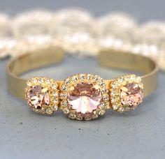 Blush Pink Bridesmaids Swarovski Bracelet French Pink Bridal