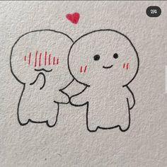 Cute Doodles Drawings, Easy Drawings Sketches, Cute Doodle Art, Cute Little Drawings, Cool Art Drawings, Cute Art, Cute Eyes Drawing, Friends Sketch, Best Friend Drawings