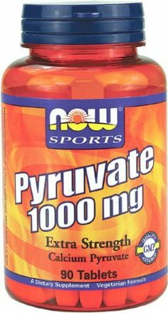 NOW Sports, PYRUVATE 1000mg 90 TABS by Now Foods. $11.69. NOW® Calcium Pyruvate is a natural combination of two important nutrients - Calcium and Pyruvic Acid.  This combination produces a stable compound called pyruvate salt that is more easily absorbed than calcium alone.  Calcium Pyruvate also plays a crucial role in energy production by facilitating the transport of glucose from the bloodstream into the muscles, making this a popular supplement with fitness enthusia...