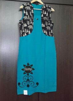 Kurtas handloom blue and black printed