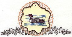 Loon on applique with leaves | Applique Machine Embroidery Design or Pattern