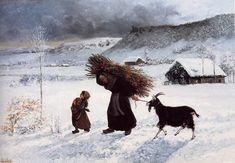 Gustave Courbet Poor Woman of the Village, , Private collection. Read more about the symbolism and interpretation of Poor Woman of the Village by Gustave Courbet. Art Français, Gustave Courbet, French Paintings, Art Database, Winter Art, Winter Solstice, Romanticism, Texture Painting, French Artists
