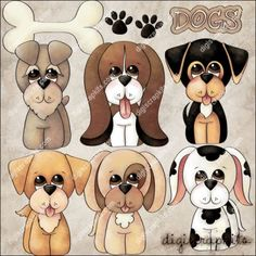 Love Dogs 1 Recolored Clip Art Set