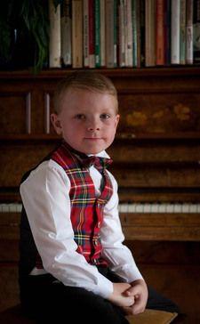 Boy's Tartan Wing Collar Bow Tie by Scotweb