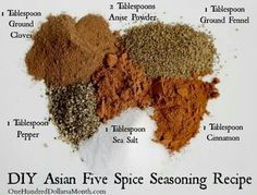 DIY Asian Five Spice Seasoning Recipe One Hundred Dollars a Month is part of Seasoning recipes I've recently become obsessed with fivespice powder I use it constantly on vegetables and even when - Asian Seasoning, Seasoning Mixes, Ramen Noodle Seasoning Recipe, Fried Rice Seasoning, Seafood Seasoning, Homemade Spices, Homemade Seasonings, Homemade Spice Blends, Dry Rubs