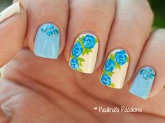 Blue Rose Nails with Blue Studs