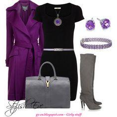 vestido negro - gabardina morada & complementos gris
