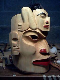 Shaman and his helpers-John Wilson's work is amazing! Native Art, Native American Art, John Wilson, Tlingit, Indigenous Art, Wood Carvings, Sacred Art, First Nations, Canes