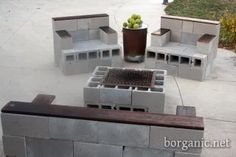 Create inexpensive, long-lasting outdoor patio furniture out of cement blocks