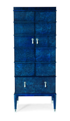 "The ""Soane Chest"" in rich lapis blue from the Consulate Collection from #CenturyFurniture located in Mkt Sq Showroom 500 #hpmkt #lisamendedesign, #stylespotter"