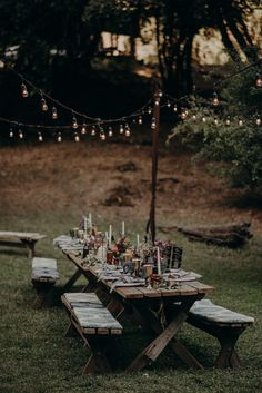 This Couple Wrote a Mission Statement for Their Leonard Lake Reserve Wedding and We Think You Should Too This forest reception featured rustic touches + colorful details for a dreamy night Picnic Table Wedding, Camp Wedding, Wedding Tips, Wedding Events, Rustic Wedding, Dream Wedding, Casual Wedding Reception, Wedding Receptions, Glamorous Wedding