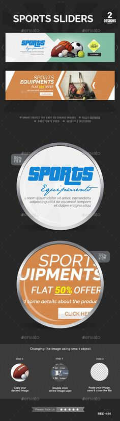 Buy Sports Sliders - 2 Designs by Hyov on GraphicRiver. Awesome quality slider template PSD file ready for your Services, products, campaigns.Each PSD file is layered and fu. Running Quotes, Sport Quotes, Slider Design, 100 Free Fonts, Football Themes, Banner Images, Change Image, Website Layout, Sports Clubs