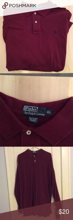 Ralph Lauren long sleeve polo! Rich cranberry color! Long sleeves. Worn 1 time! Very nice shape! Polo by Ralph Lauren Shirts Polos