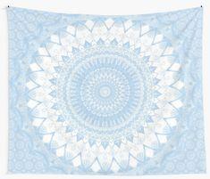 'Baby Blue Boho Mandala' Wall Tapestry by Kelly Dietrich - dream me - wandkunst Blue Tapestry, Tapestry Bedroom, Mandala Tapestry, Tapestry Wall Hanging, Dorm Room With Tapestry, Mandala Artwork, Wall Hangings, Mandala Comforter, Mandala Duvet Cover