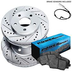 Fit 2011-2016 Scion tC Front PSport Black Drill Slot Brake Rotors+Ceramic Pads