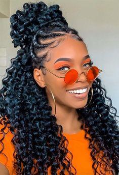 Braids Hairstyles Pictures, Crochet Braids Hairstyles, African Braids Hairstyles, Twist Hairstyles, Hairstyles For Relaxed Hair, Protective Hairstyles For Natural Hair, Curly Crochet Hair Styles, Curly Hair Styles, Natural Hair Styles