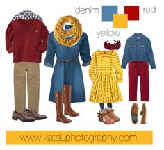 Red/yellow/denim outfit inspiration: what to wear for a family photo session in the fall. Created by Kate Lemmon, www.kateLphotography.com