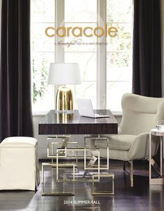 Interior HomeScapes offers the Two Drawer Desk with Gold Metal Base by Caracole. Visit our online store to order your Caracole products today. Living Room Chairs, Living Room Furniture, Home Furniture, Modern Furniture, Furniture Design, Furniture Showroom, Modern Decor, Living Rooms, Home Office Design