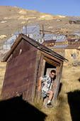 leaning outhouse at Bodie State Park in California