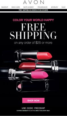 Avon Free Shipping with any $25 Online Order May 2016 http://www.makeupmarketingonline.com/avon-free-shipping-25-online-order-may-2016/