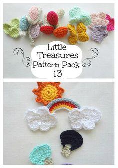 crochet appliques / mobile toys by sallie Crochet Motifs, Crochet Diagram, Crochet Trim, Cute Crochet, Crochet For Kids, Knit Crochet, Crochet Appliques, Crochet Hats, Knitting Patterns