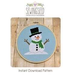 Snowman Cross Stitch Pattern available for instant download via Etsy.    Pattern Details:  This pattern is in PDF format and consists of an example