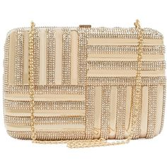 Judith Leiber Women's Striped Rectangle Beaded Clutch - Gold ($1,719) ❤ liked on Polyvore featuring bags, handbags, clutches, gold, gold handbags, gold clutches, stripe purse, striped purse and judith leiber clutches
