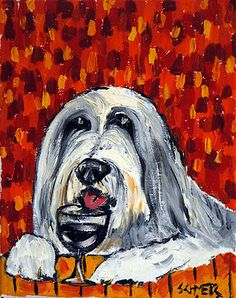 Bearded Collie at the Wine Bar wine bar giclee dog art Canvas Print schmetz