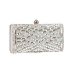 Women's J. Furmani 60239 Hardcase Stone Design Clutch - Silver Purses (5.415 RUB) ❤ liked on Polyvore featuring bags, handbags, clutches, silver, silver purse, chain handbags, party purse, silver evening bags clutches y j. furmani
