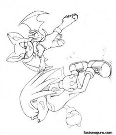 Printable Cartoon Sonic The Hedgehog Knuckles And Rouge Coloring Pages