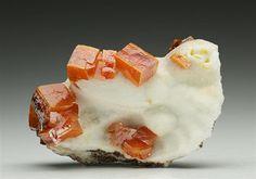 Wulfenite on Calcite
