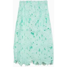 Choies Crochet Floral Lace Midi Skirt in Pastel Green (840 UAH) ❤ liked on Polyvore featuring skirts, bottoms, choies, green, floral skirt, green skirt, floral knee length skirt, floral print skirt and calf length skirts